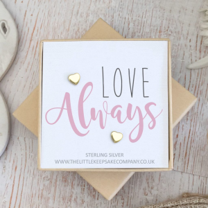 Yellow Gold Vermeil Quote Earrings - 'Love Always'