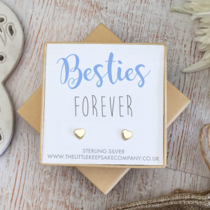Yellow Gold Vermeil Quote Earrings - 'Besties Forever'