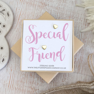 Yellow Gold Vermeil Quote Earrings - 'Special Friend'