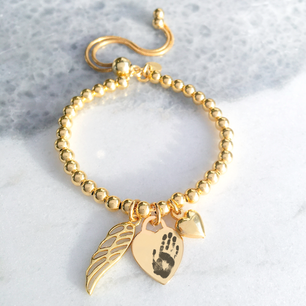 Yellow Gold Vermeil Engraved Memorial Bracelet With Prints