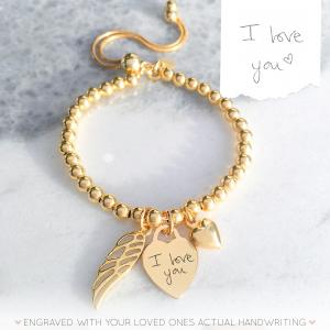 Yellow Gold Vermeil Handwriting Memorial Bracelet