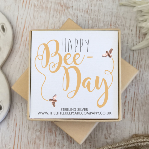 Rose Gold Vermeil Quote Earrings - 'Happy Bee-Day'