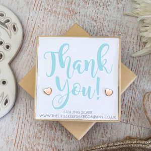 Rose Gold Vermeil Quote Earrings - 'Thank You!'