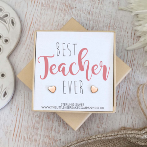 Rose Gold Vermeil Heart Quote Earrings - 'Best Teacher Ever'