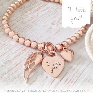 Rose Gold Vermeil Handwriting Memorial Clasp Bracelet