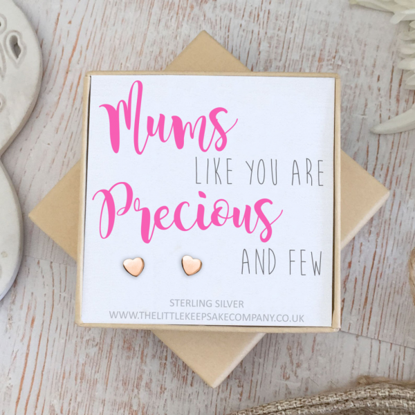 Rose Gold Vermeil Quote Earrings - 'Mums Like You Are Precious And Few'