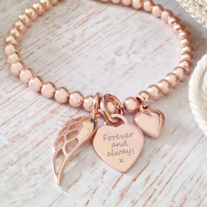 Rose Gold Vermeil Engraved Memorial Clasp Bracelet
