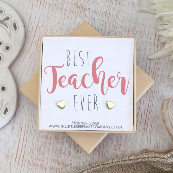 Yellow Gold Vermeil Heart Quote Earrings - 'Best Teacher Ever'