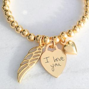Yellow Gold Vermeil Handwriting Memorial Clasp Bracelet