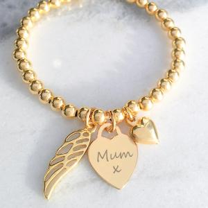 Yellow Gold Vermeil Engraved Memorial Clasp Bracelet