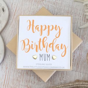 Yellow Gold Vermeil Quote Earrings - 'Happy Birthday Mum'