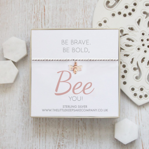Sterling Silver and Rose Gold Vermeil Quote Bracelet – 'Be Brave, Be Bold, Bee You! '