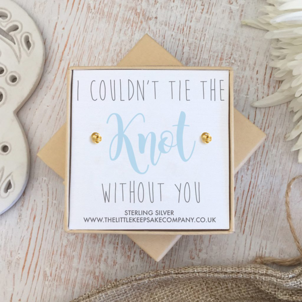 Yellow Gold Vermeil Wedding Earrings - 'I Couldn't Tie The Knot Without You'