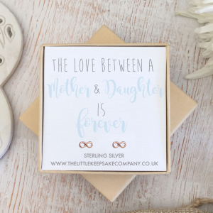 Rose Gold Vermeil Infinity Quote Earrings - 'The Love Between A Mother & Daughter Is Forever'