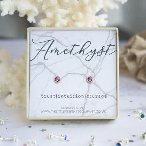 Rose Gold Vermeil Birthstone Earrings - Amethyst