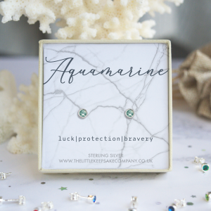 Sterling Silver Birthstone Earrings - Aquamarine