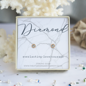 Rose Gold Vermeil Birthstone Earrings - Diamond