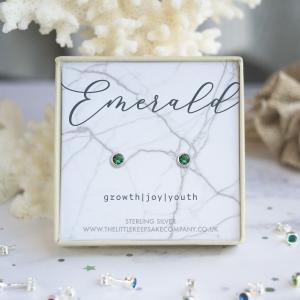 Sterling Silver Birthstone Earrings - Emerald