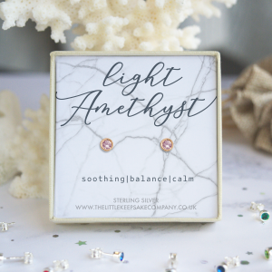 Rose Gold Vermeil Birthstone Earrings - Light Amethyst