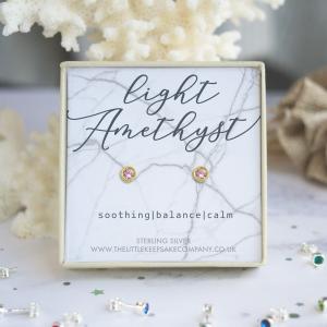 Yellow Gold Vermeil Birthstone Earrings - Light Amethyst