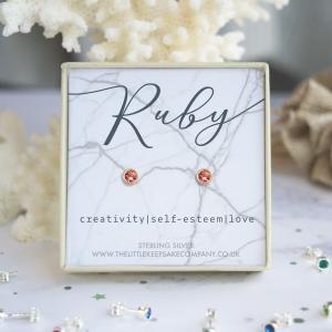 Rose Gold Vermeil Birthstone Earrings - Ruby