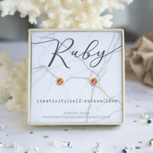 Yellow Gold Vermeil Birthstone Earrings - Ruby