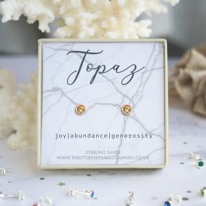 Rose Gold Vermeil Birthstone Earrings - Topaz