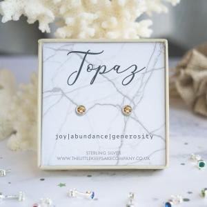 Sterling Silver Birthstone Earrings - Topaz