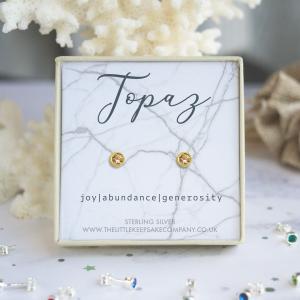 Yellow Gold Vermeil Birthstone Earrings - Topaz