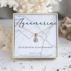 Rose Gold Vermeil Birthstone Necklace - Aquamarine
