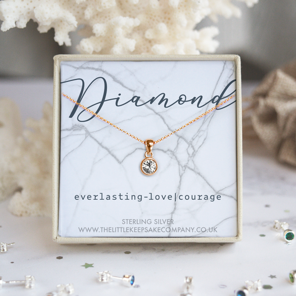 Rose Gold Vermeil Birthstone Necklace - Diamond