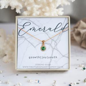 Rose Gold Vermeil Birthstone Necklace - Emerald
