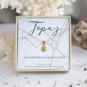 Rose Gold Vermeil Birthstone Necklace - Topaz