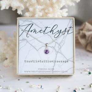 Sterling Silver Birthstone Necklace - Amethyst