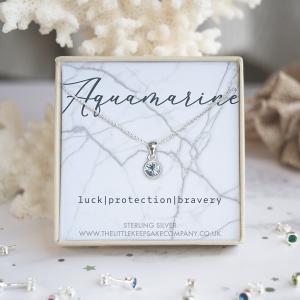 Sterling Silver Birthstone Necklace - Aquamarine