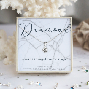 Sterling Silver Birthstone Necklace - Diamond