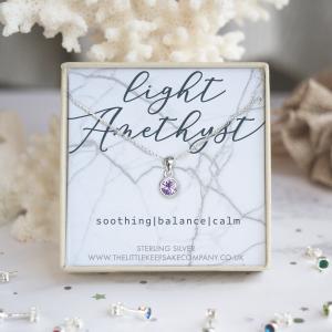 Sterling Silver Birthstone Necklace - Light Amethyst