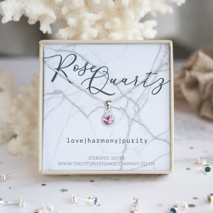 Sterling Silver Birthstone Necklace - Rose Quartz