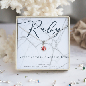 Sterling Silver Birthstone Necklace - Ruby