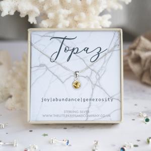 Sterling Silver Birthstone Necklace - Topaz