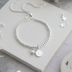 Sterling Silver Ball Slider Bracelet - Silver Star With Engraved Initial Disc